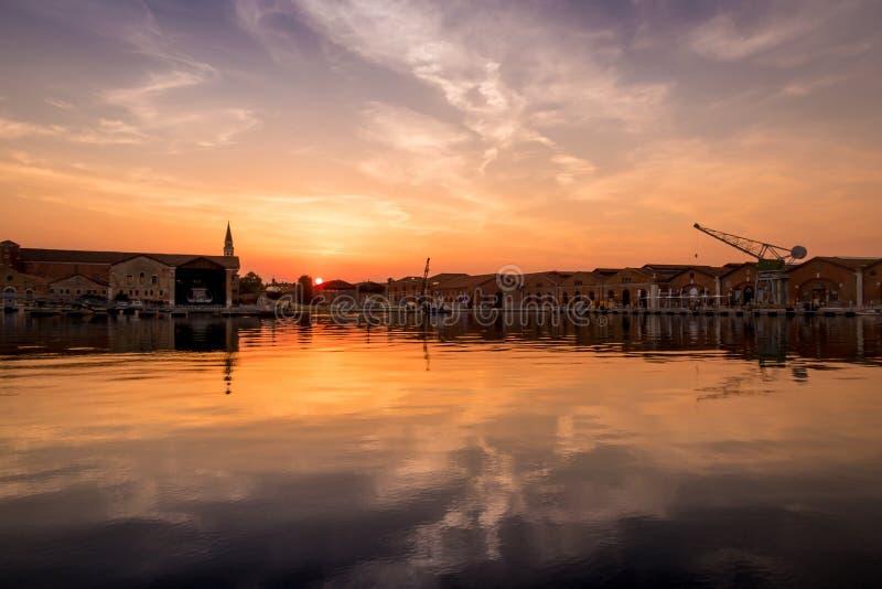 Sunset at Arsenale Venezia stock photography