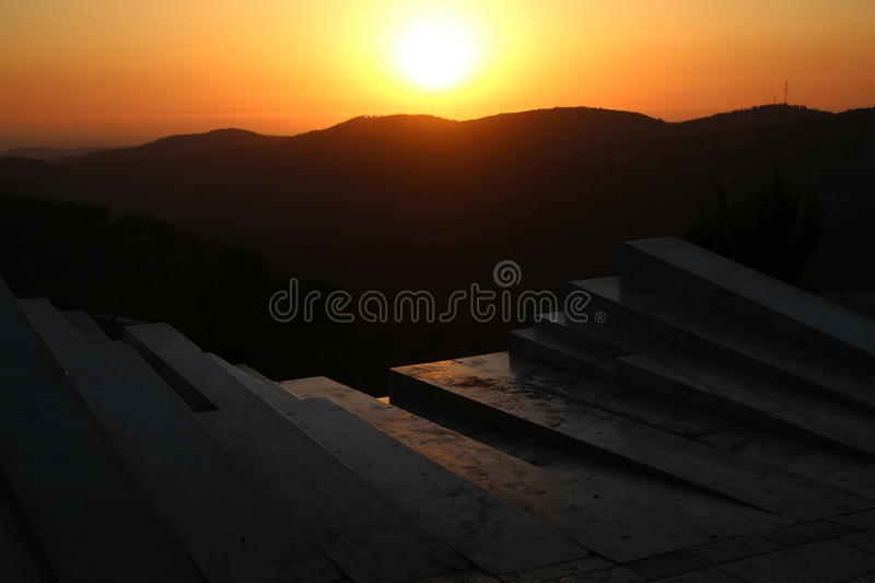 Sunset from the Arthur Rubinstein Memorial royalty free stock images