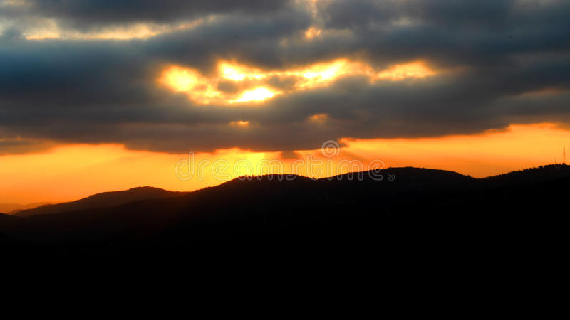 Sunset from the Arthur Rubinstein Memorial royalty free stock image