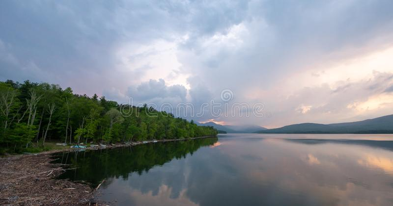 Sunset at the Ashokan Reservoir, NYC water supply. royalty free stock photo