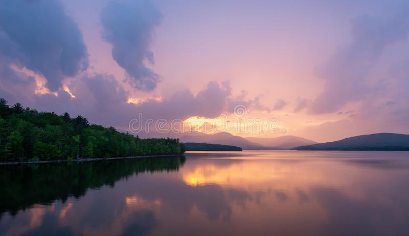 Sunset at the Ashokan Reservoir, NYC water supply. royalty free stock images
