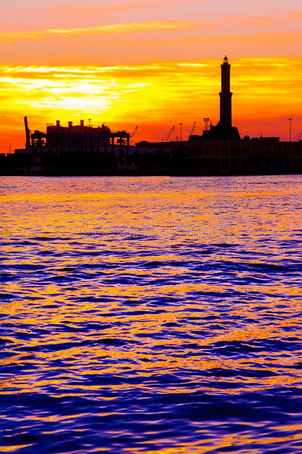 Free Sunset At Genoa`s Port, Silhouette Of The Lanterna, Italy Royalty Free Stock Image - 129850886