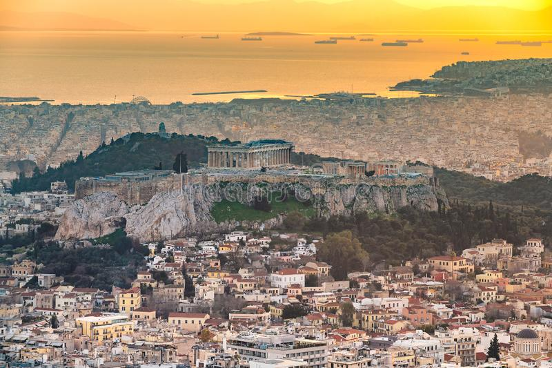 Sunset at Athens, Greece,. Sunset view of the Acropolis of Athens, Greece, with the Parthenon Temple royalty free stock photography