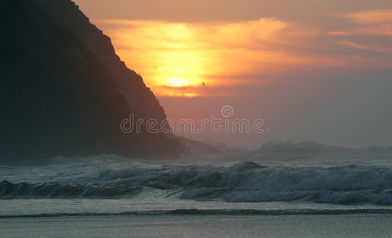 Sunset in the atlantic ocean. Morocco. Africa stock photography