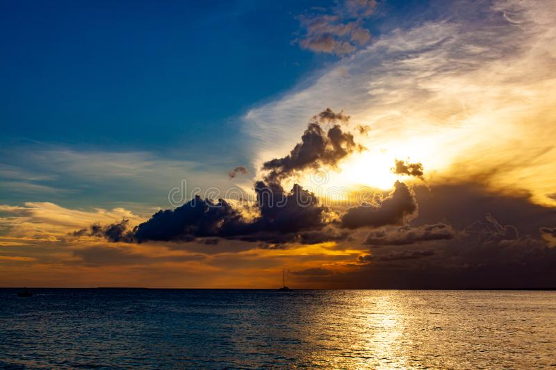 Sunset and atlantic ocean stock images
