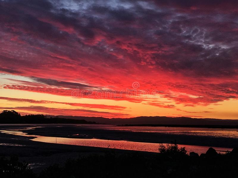 Sunset in Auckland New Zealand stock photography