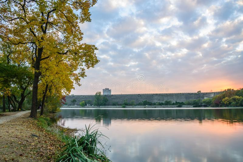 Sunset in autumn. Autumn scenery in qian lake ,Nanjing, China royalty free stock image