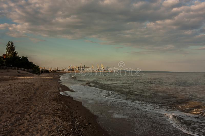 Sunset at Azov sea coastline in Mariupol royalty free stock photography