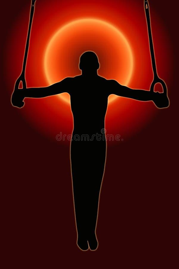 Download Sunset Back Sport Silhouette Gymnast On Rings Stock Illustration - Image: 22414187