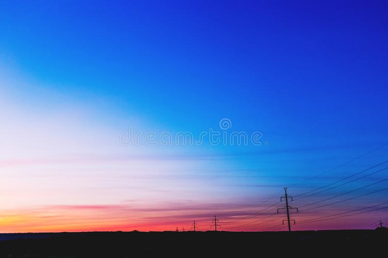 Sunset background with blue, red and yellow colors.  royalty free stock image