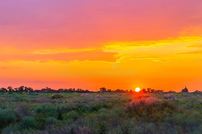 Sunset background, Panorama view with wonderful golden yellow sky, Amazing purple and orange sky in evening during the sun going. Down, beautiful, beauty, blue royalty free stock photography