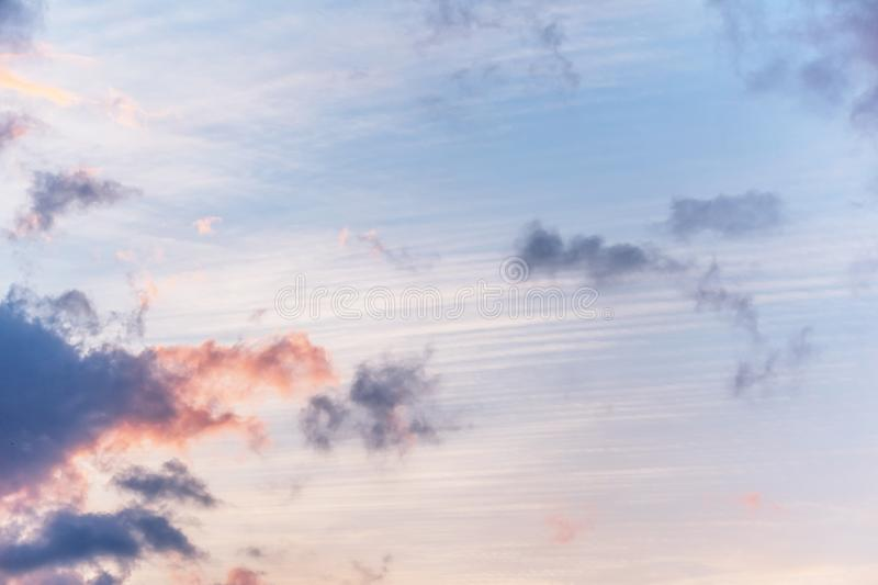 Sunset background. sky with soft and blur pastel colored clouds.  gradient cloud on the beach resort. nature. sunrise.  peaceful m. Orning. Instagram toned style royalty free stock photos