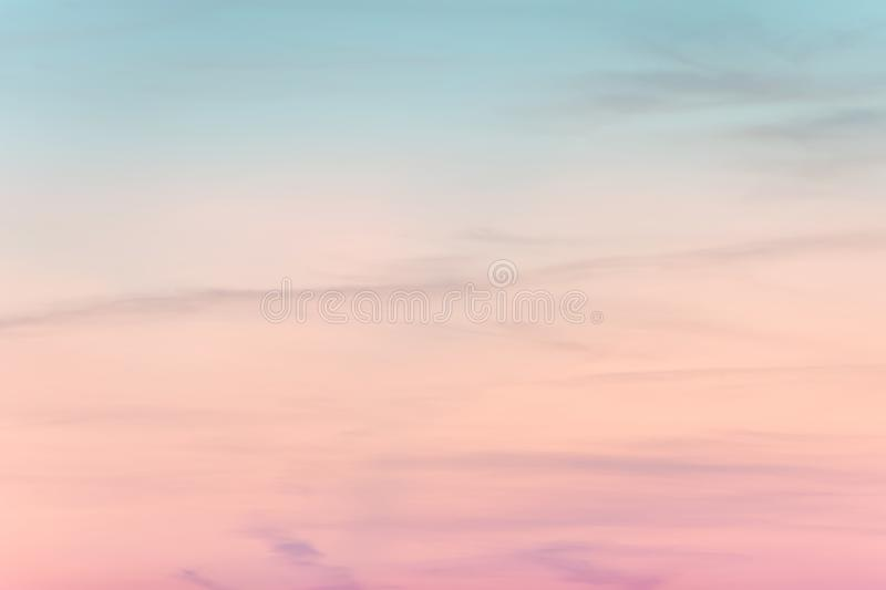 Sunset background. sky with soft and blur pastel colored clouds.  gradient cloud on the beach resort. nature. sunrise.  peaceful m. Orning. Instagram toned style stock photos