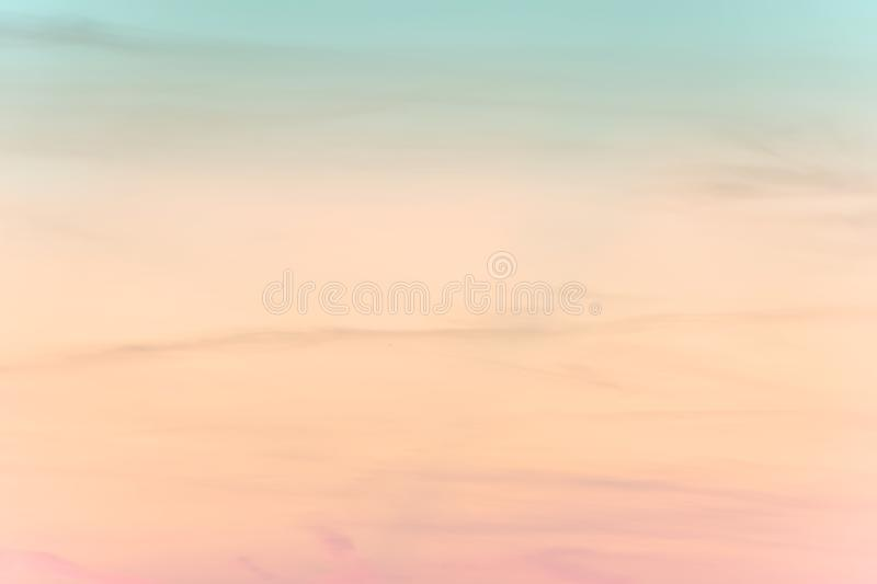 Sunset background. sky with soft and blur pastel colored clouds.  gradient cloud on the beach resort. nature. sunrise.  peaceful m. Orning. Instagram toned style royalty free stock images