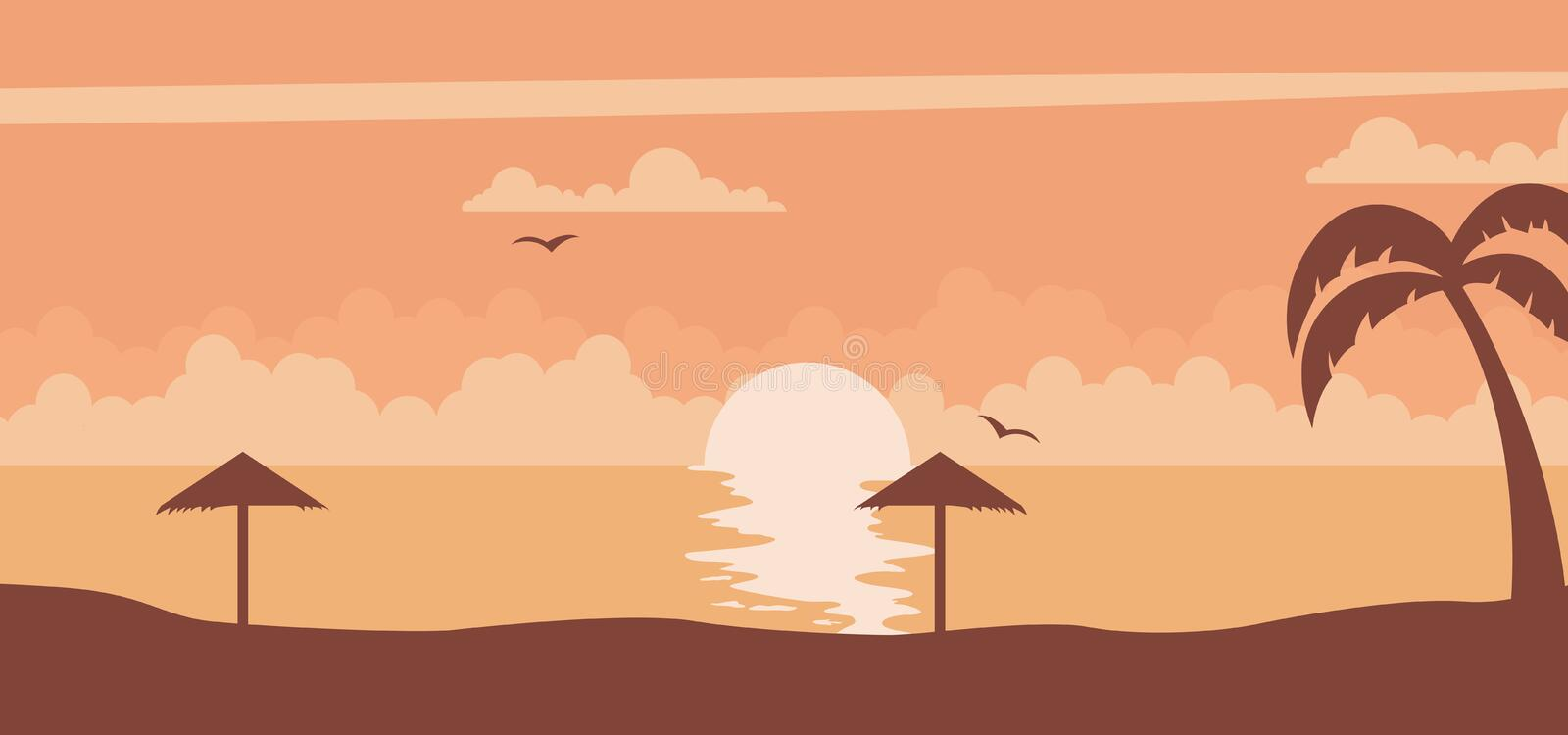 Sunset background on a summer sunset at the beach vector. Summer sunset background with sun on the beach vector vector illustration