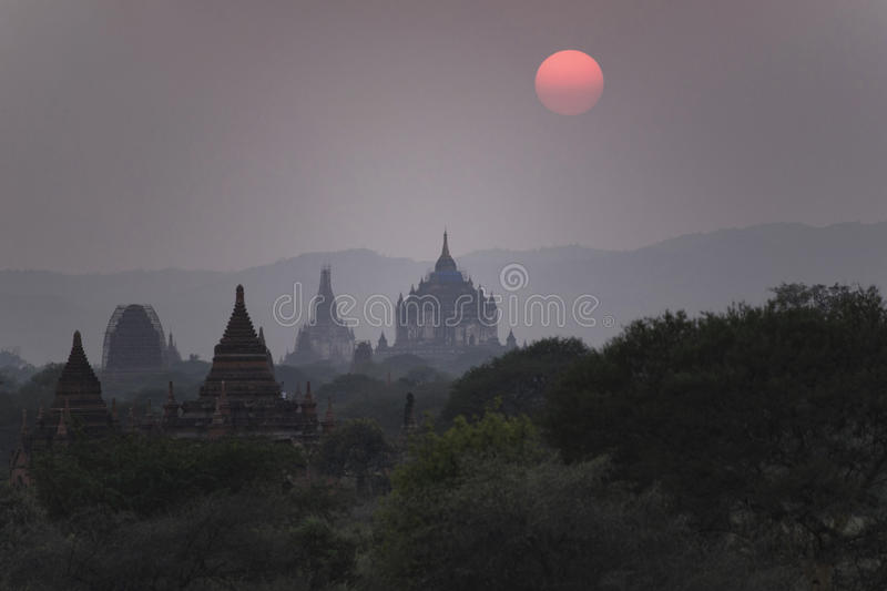 Sunset in Bagan, Mandalay, Myanmar. Bagan is an ancient city located in the Mandalay Region of Myanmar. From the 9th to 13th centuries, the city was the capital stock images
