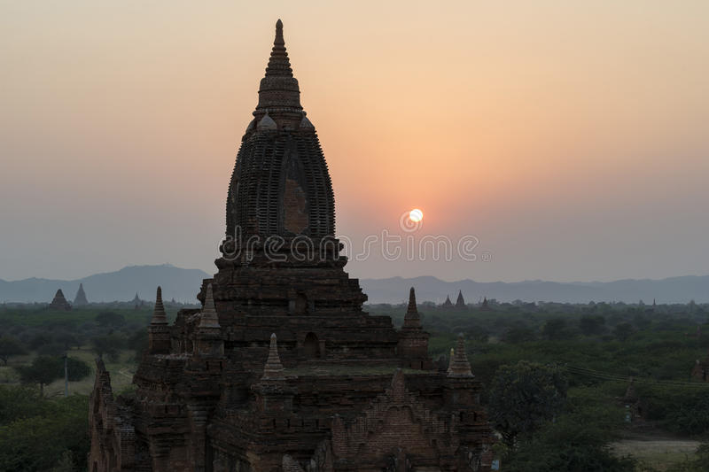 Sunset in Bagan, Mandalay, Myanmar. Bagan is an ancient city located in the Mandalay Region of Myanmar. From the 9th to 13th centuries, the city was the capital royalty free stock image