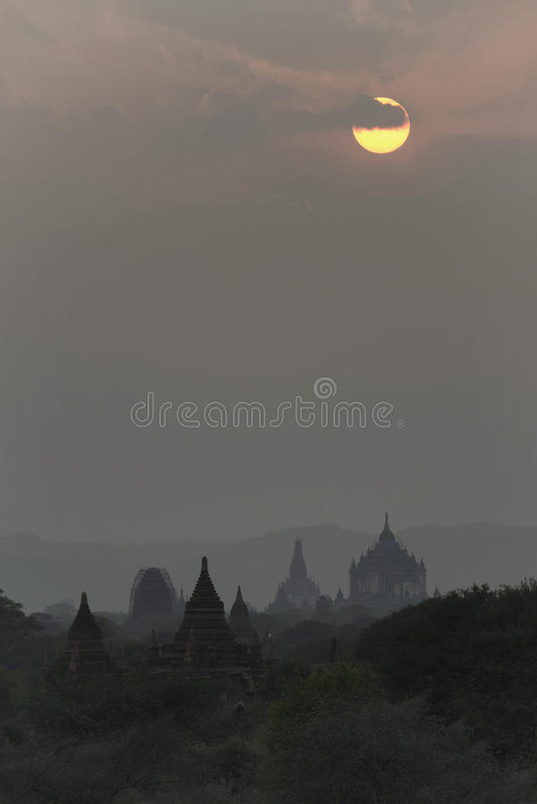 Sunset in Bagan, Mandalay, Myanmar. Bagan is an ancient city located in the Mandalay Region of Myanmar. From the 9th to 13th centuries, the city was the capital stock photos