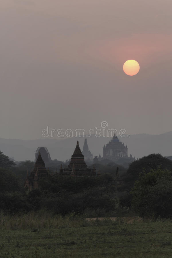 Sunset in Bagan, Mandalay, Myanmar. Bagan is an ancient city located in the Mandalay Region of Myanmar. From the 9th to 13th centuries, the city was the capital royalty free stock photos