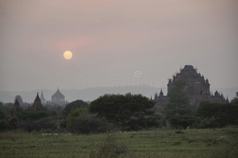 Sunset in Bagan, Mandalay, Myanmar. Bagan is an ancient city located in the Mandalay Region of Myanmar. From the 9th to 13th centuries, the city was the capital royalty free stock images