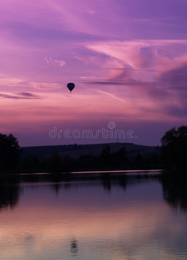 Download Sunset and baloon stock photo. Image of spruce, scenery - 6516434