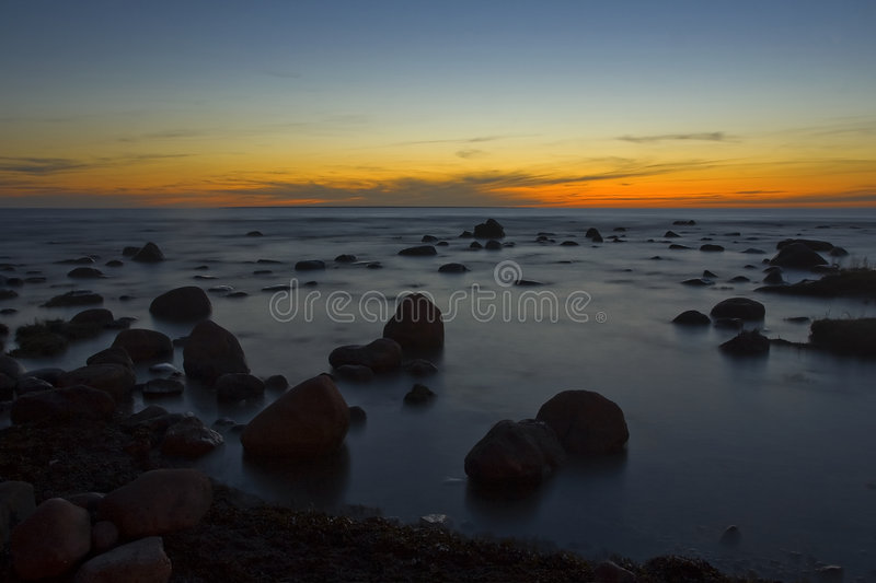Sunset at baltic sea royalty free stock image