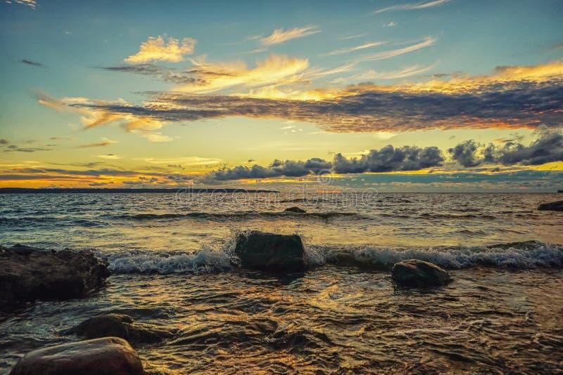 Sunset on the Baltic Sea. Estonia Tallinn royalty free stock image