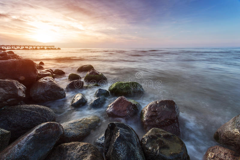 Sunset on Baltic sea royalty free stock photo