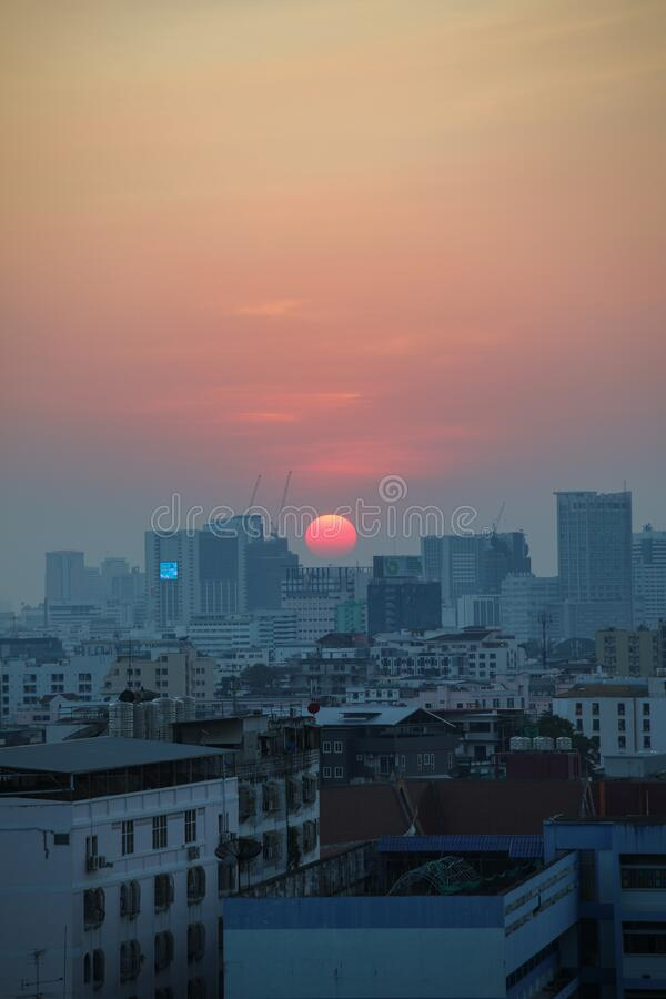 Sunset in Bangkok, Thailand royalty free stock images