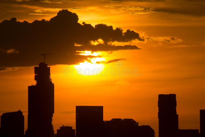 Sunset at Bangkok Thailand royalty free stock photography