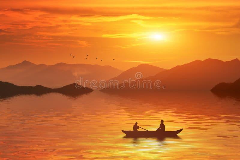 Sunset bangladesh stock illustration