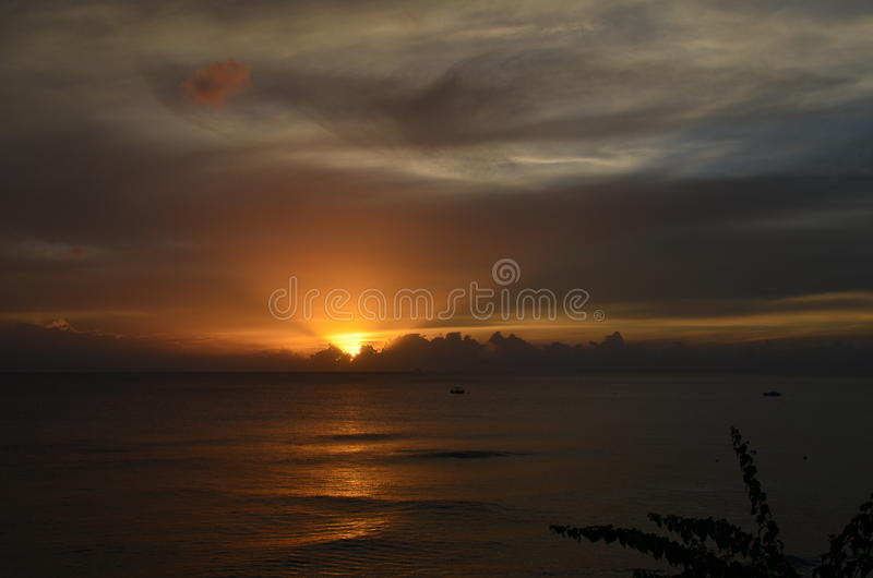 Sunset in Barbados stock images