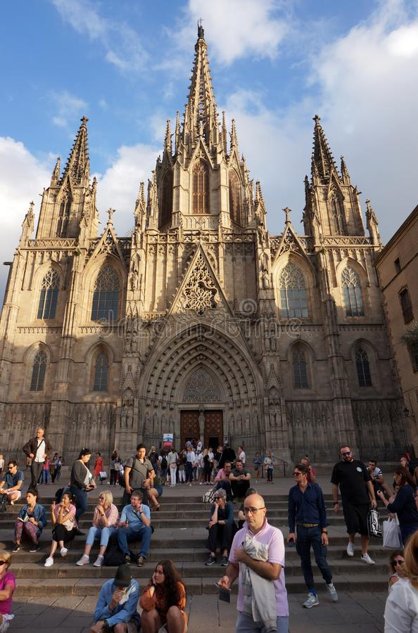 Sunset at the Barcelona Cathedral in October stock photography