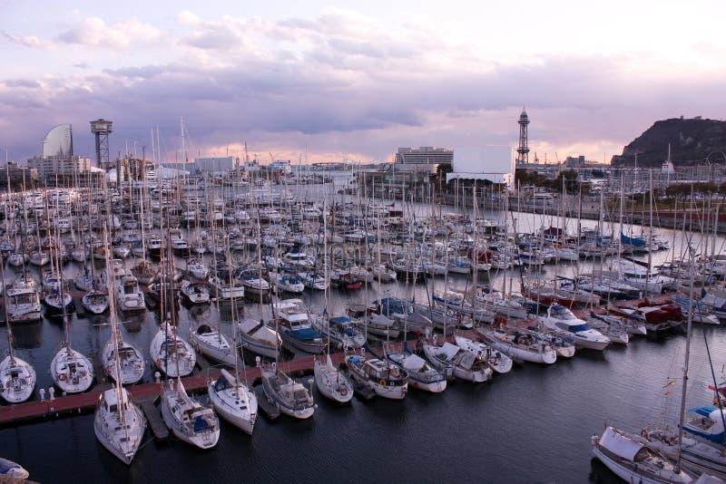 Sunset in Barcelona, port. stock images