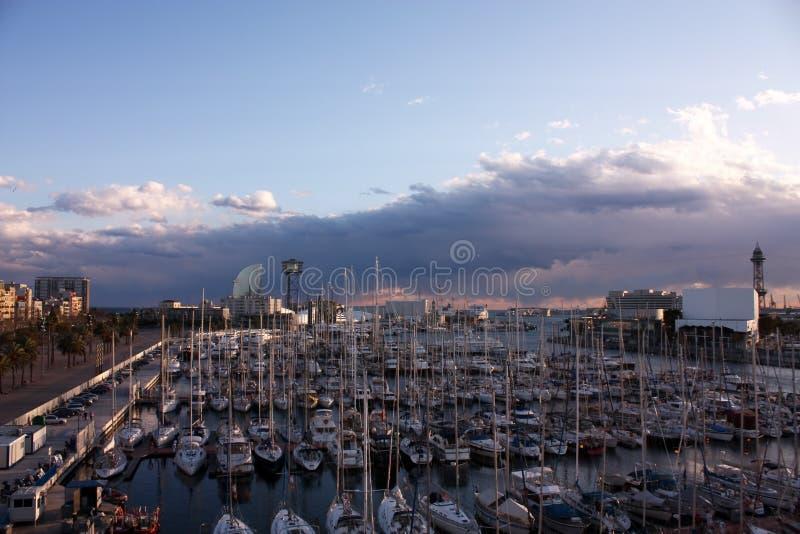 Sunset in Barcelona, port. Catalonia, Spain stock photography