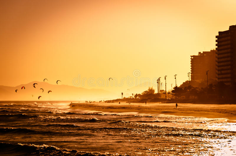 Sunset in Barra da Tijuca Beach. Sunset in Barra da Tijuca, West Part of the Rio de Janeiro City royalty free stock images