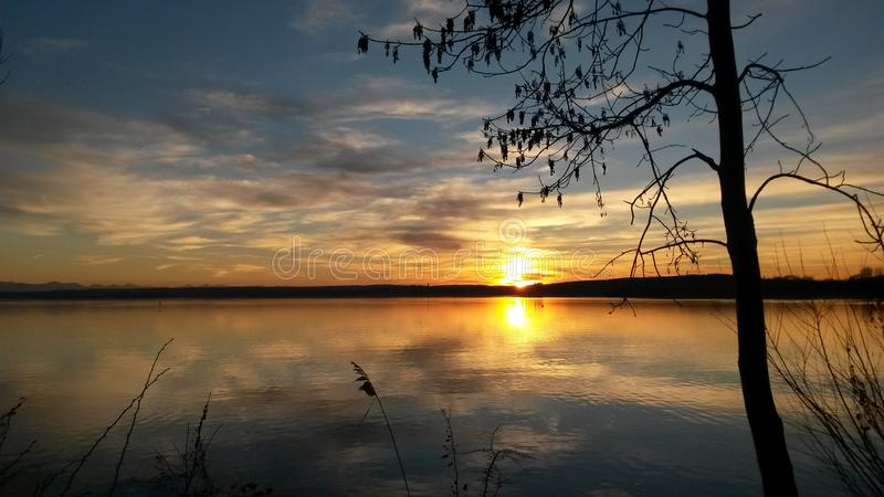 Sunset in Bavaria stock photography