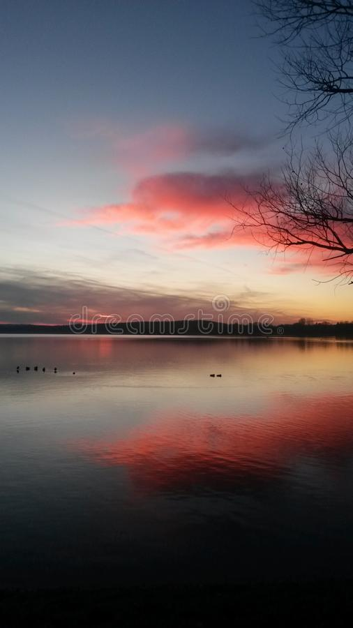 Sunset in Bavaria royalty free stock photography