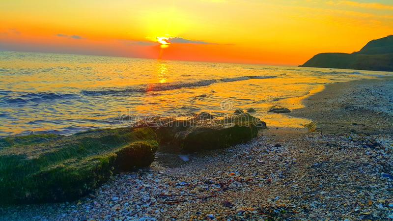 Sunset and beach.  royalty free stock photos