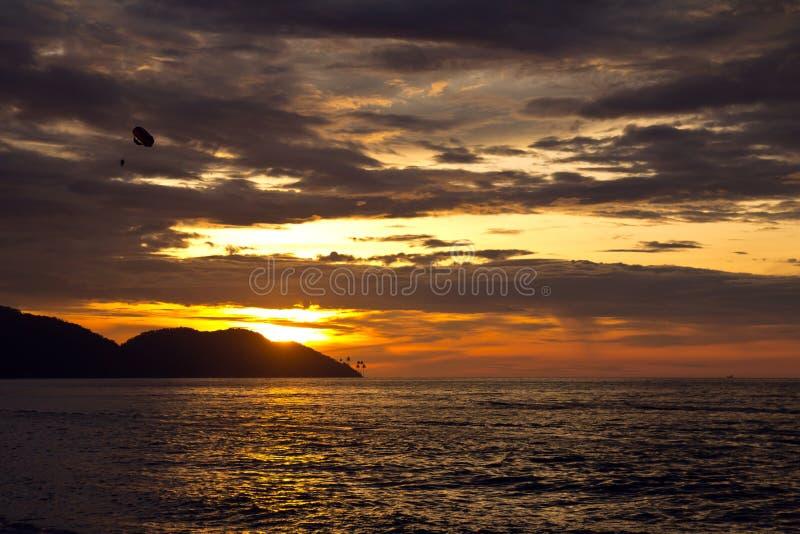 Sunset beach. Sunset view on beach during summer time stock photos