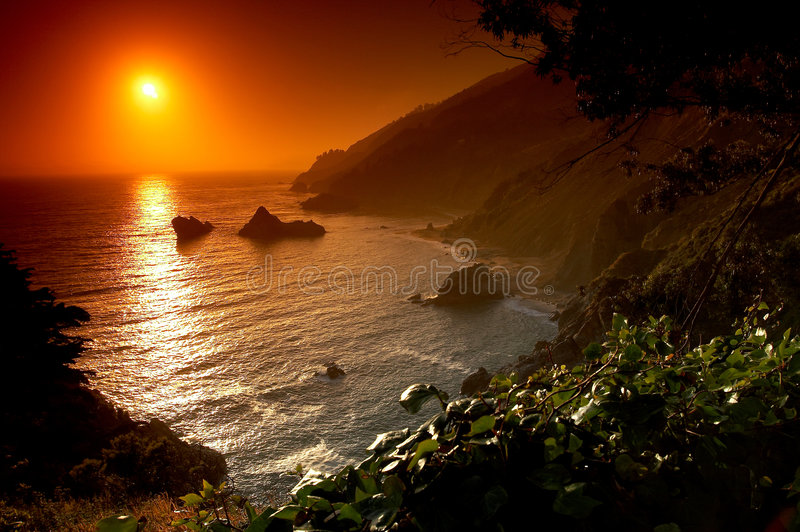 Download Sunset on the beach stock photo. Image of serenity, landscape - 612674