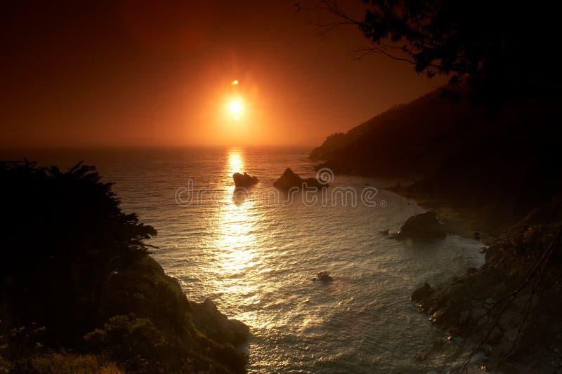 Sunset on the beach. Big Sur California stock photo
