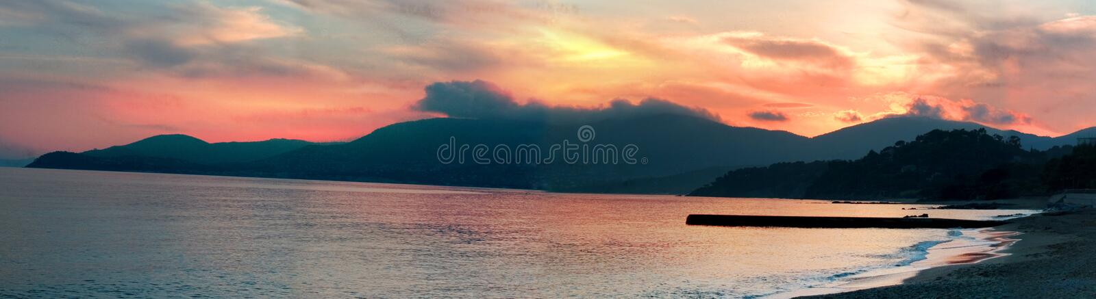 Sunset at beach royalty free stock images