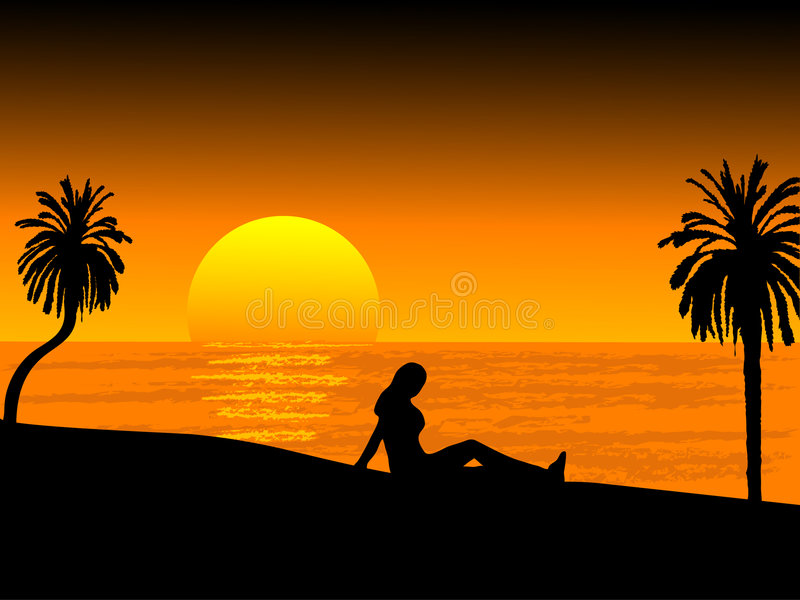 Sunset on the beach stock illustration