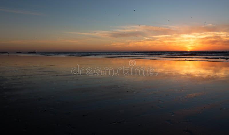 Sunset on the beach of Agadir in Morocco. Beautiful sunset on the beach of Agadir in the south of Morocco royalty free stock photos