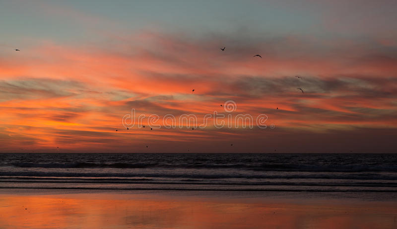 Sunset on the beach of Agadir in Morocco. Beautiful sunset on the beach of Agadir in the south of Morocco royalty free stock photography