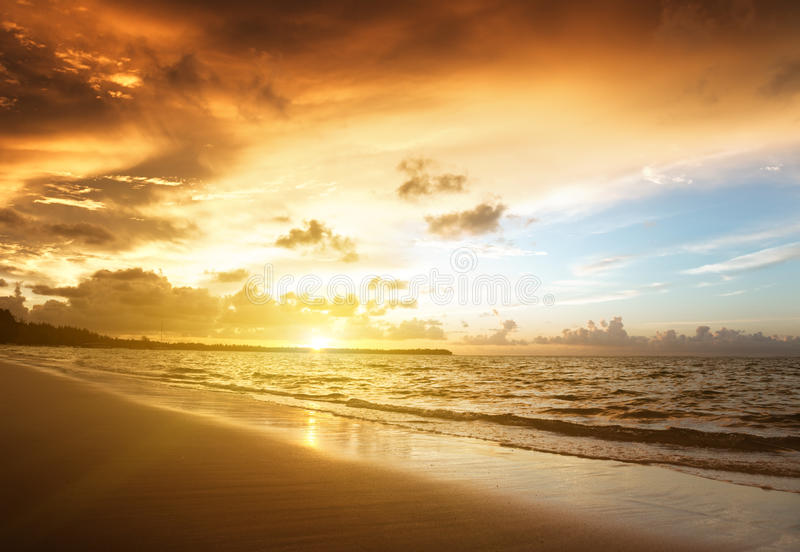 Sunset On The Beach Stock Images
