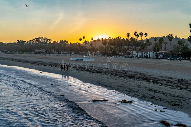 Sunset on the beach. Downtown Santa Barbara - Central California Coastal City, landscape, nature, outdoors, sunset, background, beach, beautiful, black, calm royalty free stock images