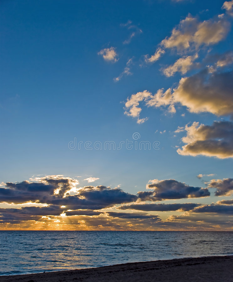 Sunset On the beach with fine sand-naples,florida royalty free stock image
