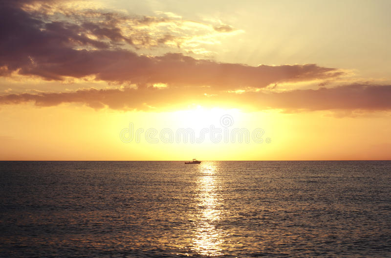 Sunset on the beach in Florida. Florida Keys. Vacation stock image